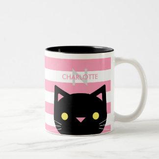 Nom fait sur commande mignon et initiale de chat tasse 2 couleurs