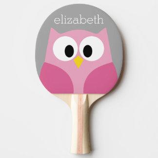 Nom fait sur commande rose et gris de hibou mignon raquette tennis de table