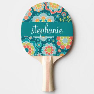 Nom floral de coutume de motif d'été coloré raquette tennis de table