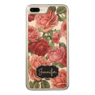 Nom floral de roses rouge-rose vintages élégants coque carved pour iPhone 7 plus