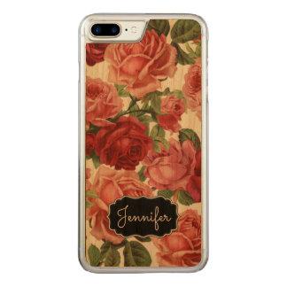Nom floral de roses rouge-rose vintages élégants coque en bois iPhone 7 plus