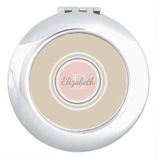 Nom gris et rose et beige blancs de monogramme miroir de poche