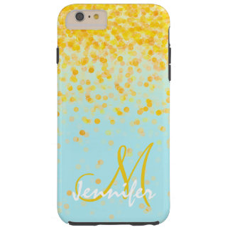 Nom jaune d'or Girly d'ombre de turquoise de Coque iPhone 6 Plus Tough