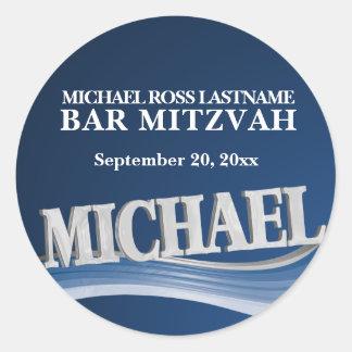 Nom Michael de bleu en acier Sticker Rond