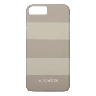 Nom moderne beige et de toile de coutume de motif coque iPhone 7 plus