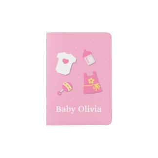 Nom moderne élégant mignon de rose de bébé protège-passeports