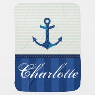 Nom nautique de coutume d'ancre de motif de couvertures pour bébé