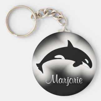 Nom noir et blanc d épaulard d orque porte-clef
