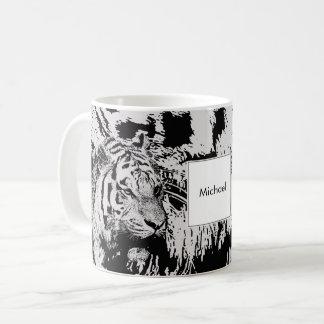 Nom noir et blanc de monogramme d'impression de mug