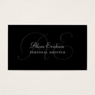 Nom noir et blanc de plaine élégante de monogramme cartes de visite