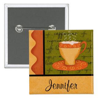 Nom orange de coutume d'art de tasse de café de badges