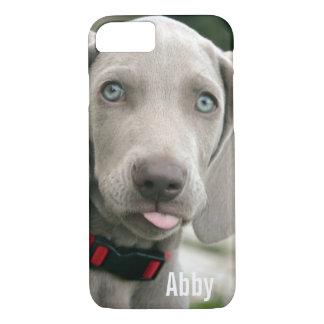 Nom personnalisé de photo de chien de Weimaraner Coque iPhone 7