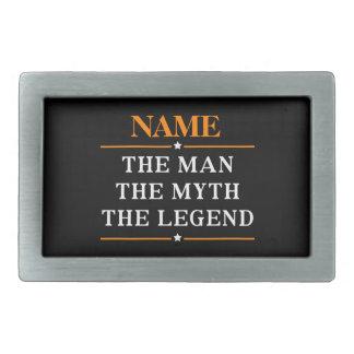 Nom personnalisé l'homme le mythe la légende boucle de ceinture rectangulaire