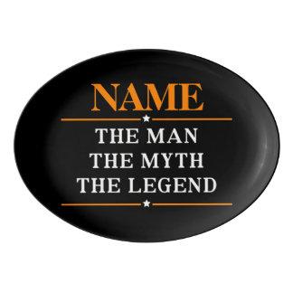 Nom personnalisé l'homme le mythe la légende plateau de service en porcelaine