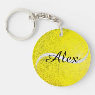 Nom personnalisé par balle de tennis porte-clé rond en acrylique double face