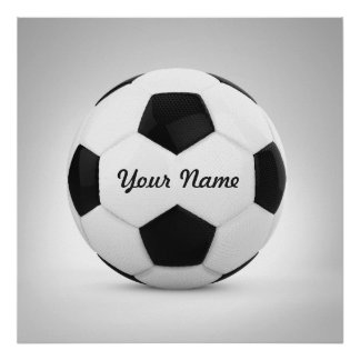 Nom personnalisé par ballon de football noir et poster