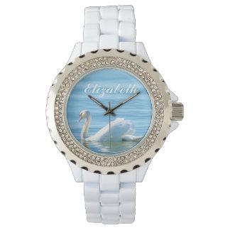 Nom personnalisé par cygne blanc élégant montre