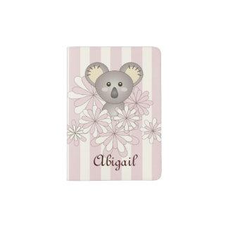 Nom rayé d'enfants de bébé de rose animal mignon protège-passeport