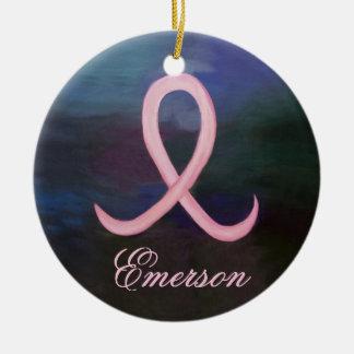 Nom rose doux de support de ruban de Cancer des Ornement Rond En Céramique
