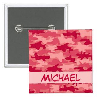 Nom rouge de camouflage de Camo personnalisé Badges