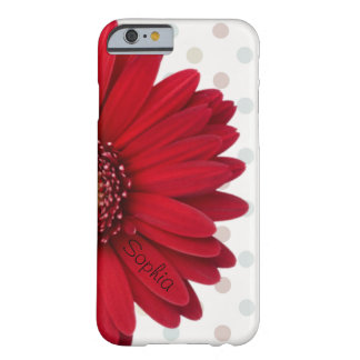 Nom rouge de coutume de marguerite de point de coque iPhone 6 barely there