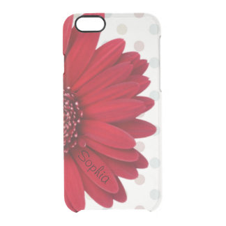 Nom rouge pâle de coutume de marguerite de point coque iPhone 6/6S