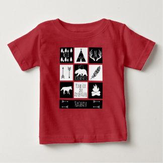 Nom rustique de plaid et de bébé de contrôle de t-shirt pour bébé