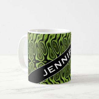 Nom + Vert de résumé Liquide-Comme le motif de Mug