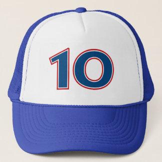 Nombre bleu 10 casquette