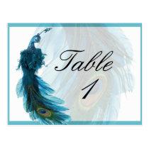 Nombre bleu turquoise de Tableau de plume de paon Cartes Postales