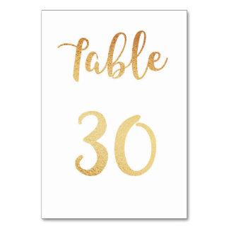 Nombre de table de mariage d'or. Décor