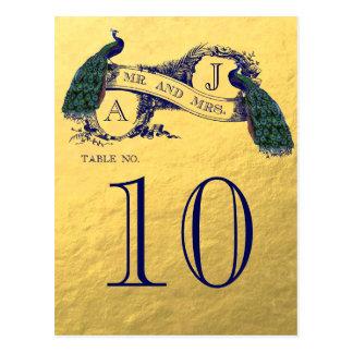 Nombre de Tableau de mariage de paon d'or Cartes Postales