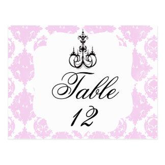 Nombre élégant de table de mariage cartes postales