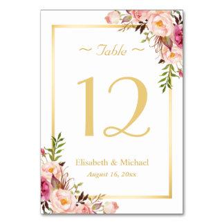 Nombre floral rose chic élégant de Tableau de
