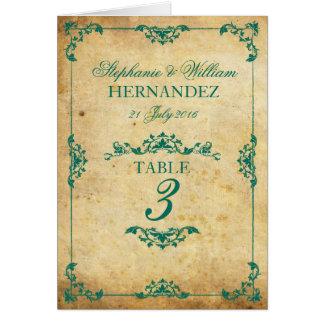Nombre floral turquoise vintage de Tableau de mari Carte De Vœux