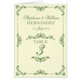 Nombre floral vert vintage de Tableau de mariage Cartes