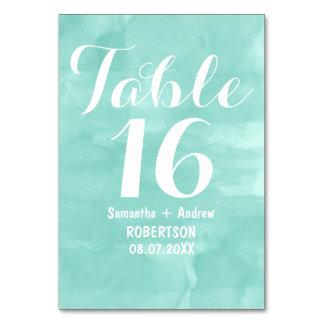 Nombre moderne de table d'aquarelle de vert d'aqua