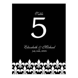 Nombre noir et blanc de Tableau de Fleur de Lis Carte Postale