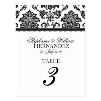 Nombre noir et blanc de Tableau de mariage damassé Cartes Postales