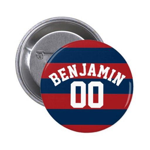 Nombre nommé de rayures de rugby de bleu marine et badge avec épingle