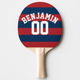 Nombre nommé de rayures de rugby de bleu marine et raquette de ping pong