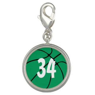 Nombre ou initiales Bball vert de joueur de basket Breloques Avec Photo