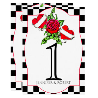 Nombre rose de Tableau de mariage de coeurs de Carton D'invitation 12,7 Cm X 17,78 Cm