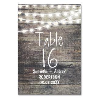 Nombre rustique en bois et de table de lumières de
