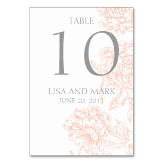 Nombre vintage floral gris de corail de Tableau de