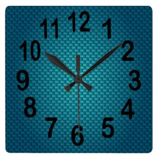 Nombres audacieux bleu-foncé turquoises de horloge carrée
