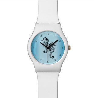 Nombres de noir bleu d'hippocampes montres bracelet
