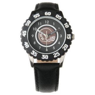 Nombres de noir de montre de casque de football du