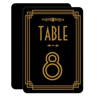 Nombres noirs de Tableau de mariage d'art déco Carton D'invitation 8,89 Cm X 12,70 Cm