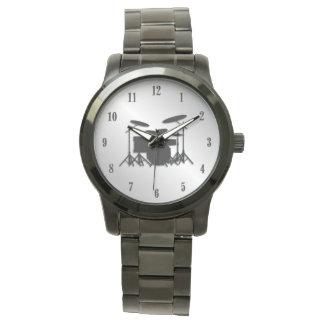 Nombres noirs réglés de tambour montres bracelet